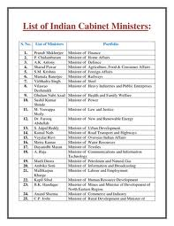 Names of central cabinet minister's names with they specific ...