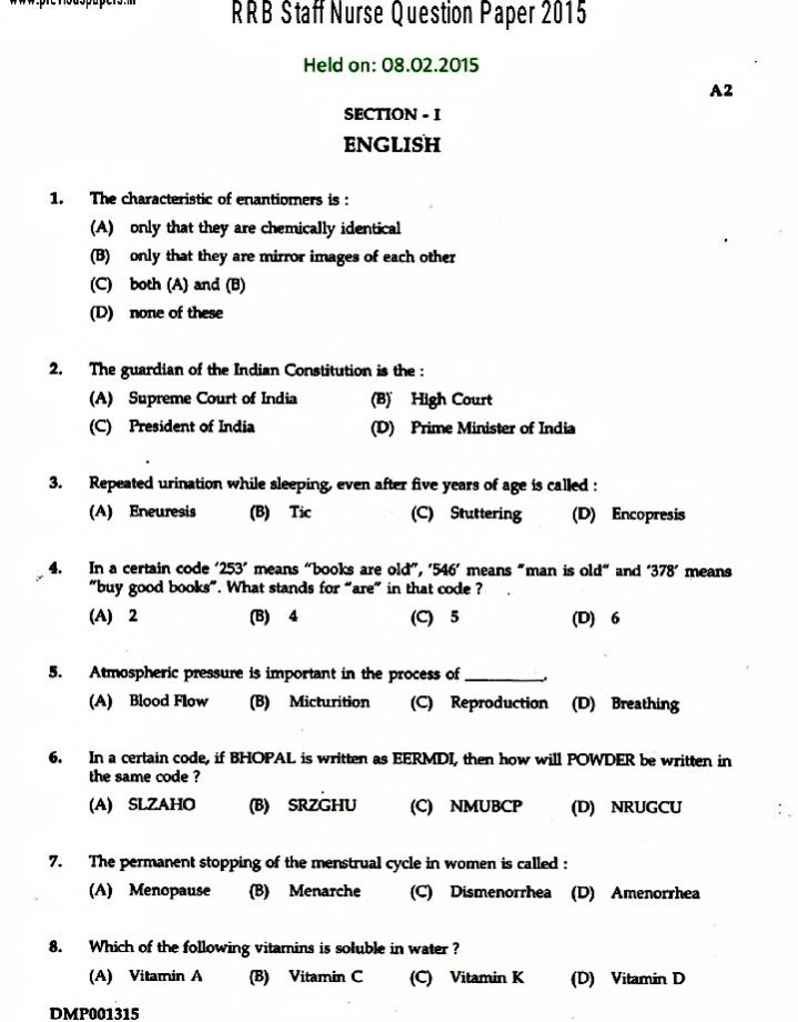 Previous few years solved question papers for Staff Nurse exam