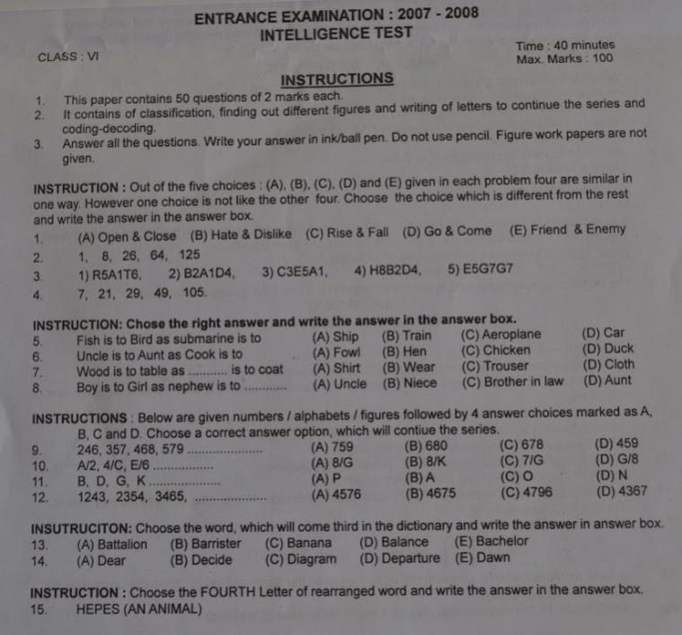 Model question papers of sainik school entrance exam for 6th standard ccuart Image collections