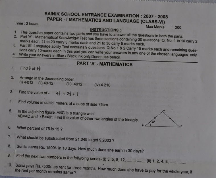 sainik school 6th standard entrance exam solved papers