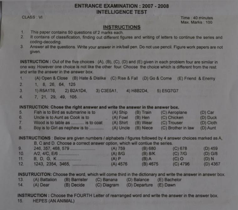 Sainik School entrance exam question papers